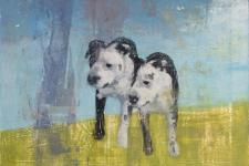 painting of black and white dog, double image
