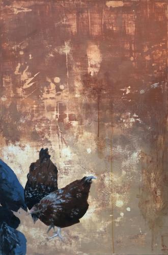 painting of chicken by artist Linda Pompeo