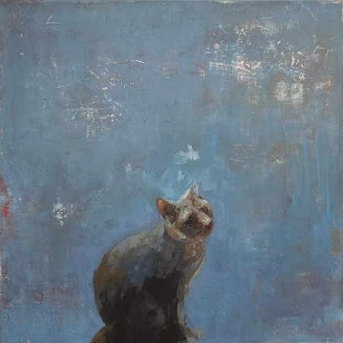 Painting of grey cat with blue background