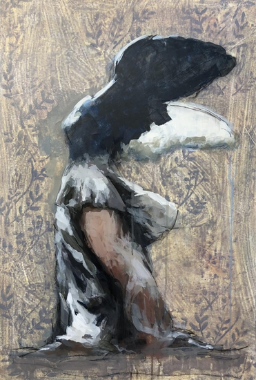 Winged Victory by Linda Pompeo, samothrace, oil on canvas