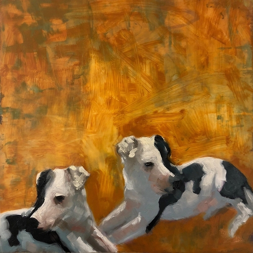 Dog, pit bull, rescue, animal, oil, Mylar, painting