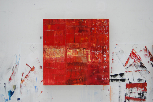 image of paining by artist Martha Hope Carey entitled Signal Distortion shown hanging in studio